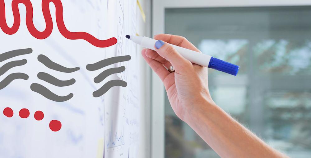 hand writing on a whiteboard
