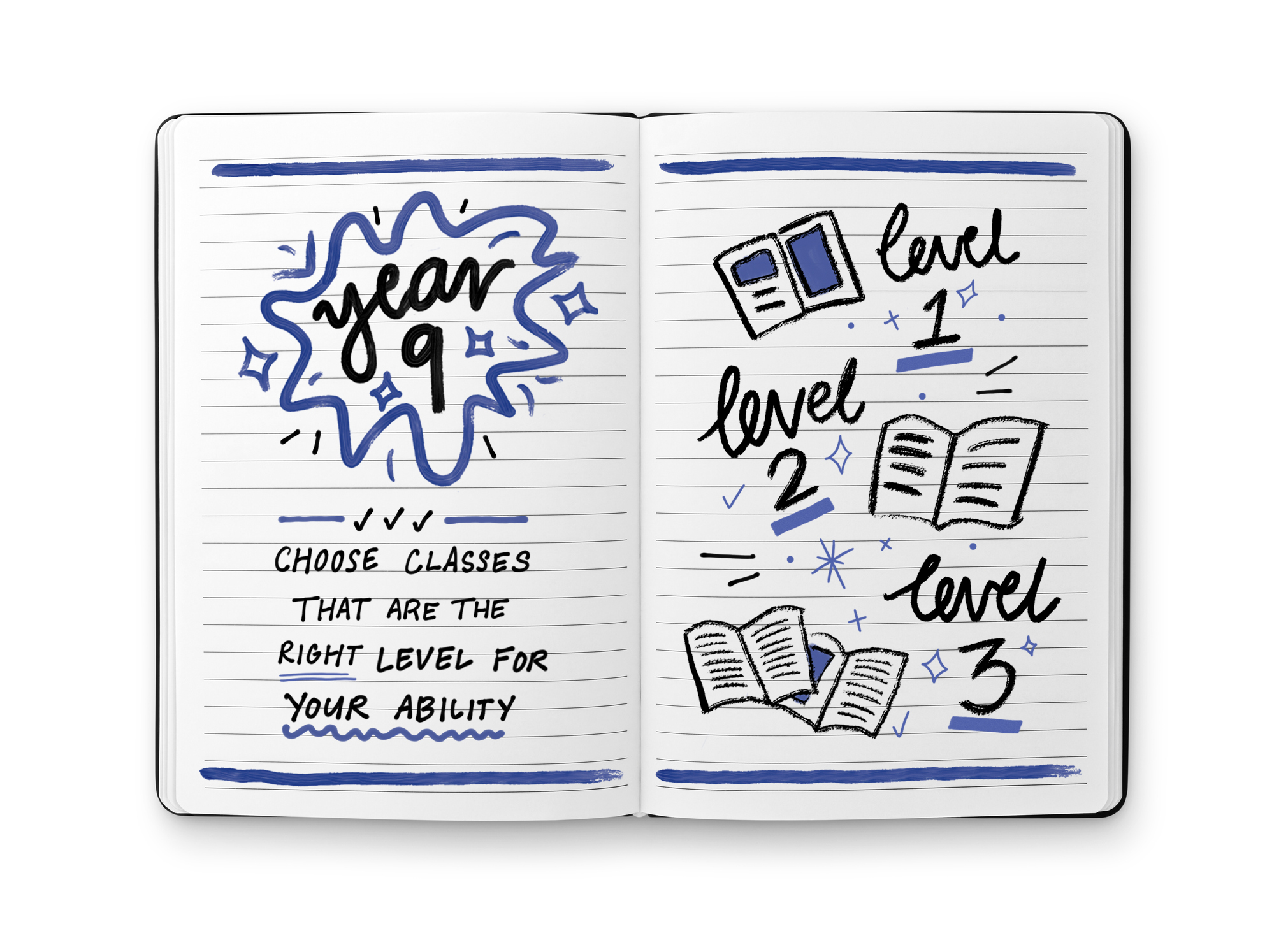 lined notebook with year 9 information