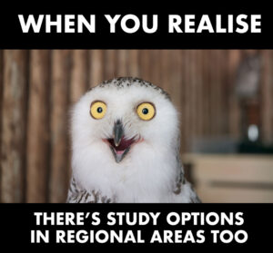owl with eyes wide open with the text 'when you realise there's study options in regional areas too' superimposed