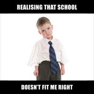 young boy in an oversized outfit with the caption 'realising that school doesn't fit me right'