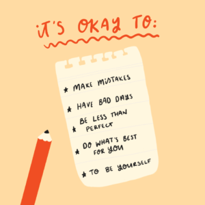 Illustration with list of things that are okay liking making mistakes